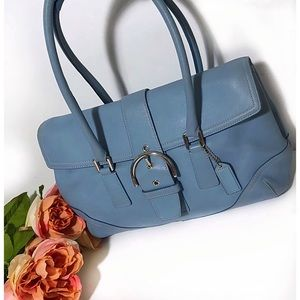 Coach Bags - Coach Blue Soho Hampton Flap Satchel Bag 9550
